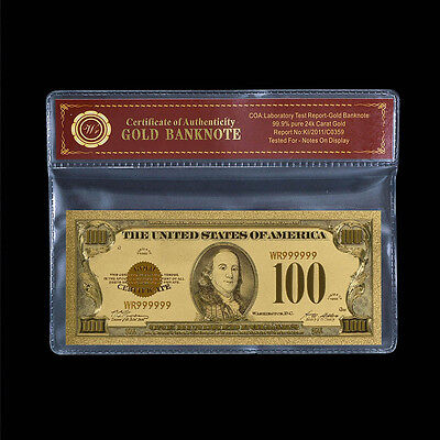 WR 1928 Gold Certificate $100 Bill Gold US Dollar Banknote In COA Sleeve
