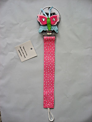 New MUD PIE Baby Toddler PACIFIER PACY CLIP Embroidered Ladybug Felt GIRL