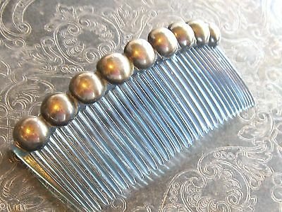 Early Mexican 925 Sterling Silver Beaded Ball Hair Comb Accessory Blue Celluloid
