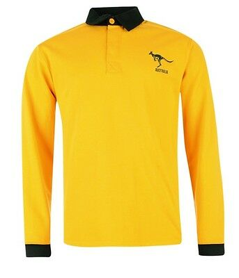 RWC Australia Australia Rugby long sleeve Polo Yellow Black Size S or M New