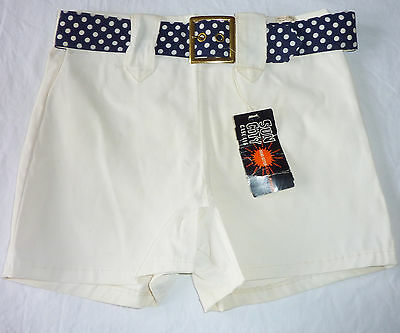 Vintage Sun City Casuals NOS Swim Suit W/Org Tags White Navy & White Belt Medium