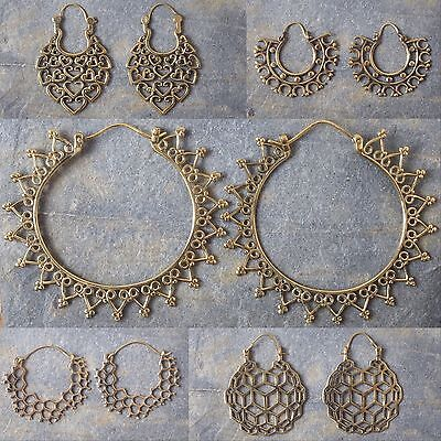 Brass Earrings Tribal Ethnic Gypsy Hoop Festival Indian Mandala Boho 12 Designs