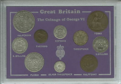 1937-1944 King George VI First Type Great Britain Coin Gift Set in Display Case
