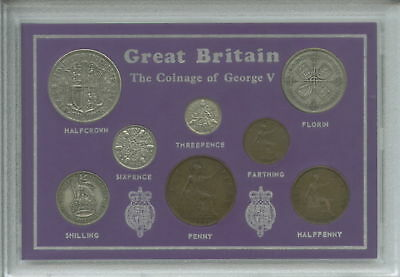 1928-1936 King George V (Third Type) Great Britain Coin Gift Set in Display Case