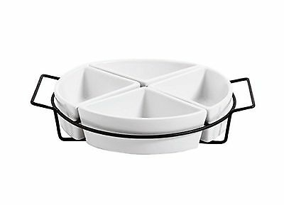 Gracious Dining Gibson Four Section Tray Set Ware with Metal Rack White New