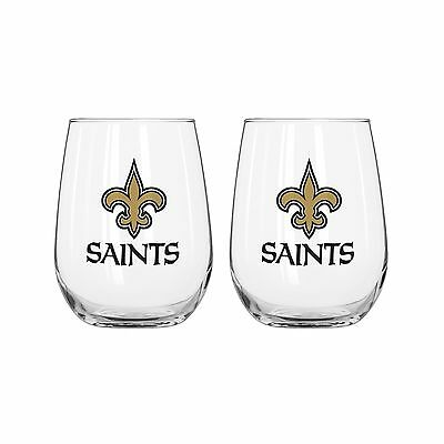 NFL New Orleans Saints Curved Beverage Glasses (Pack of 2) 16-Ounce New