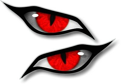 Pair Of EVIL Eyes Eye in RED vinyl car Motorbike Helmet Sticker Decal 70x30mm