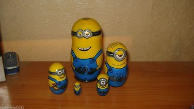 MINIONS 5pc wooden hand painted lacquered russian matreshka nesting dolls