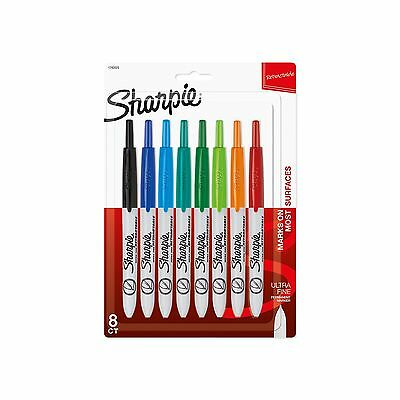 Sharpie Retractable Ultra Fine Point Permanent Markers 8 Colored Markers ... New