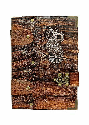 Big Eye Owl Pendant on a Brown Leather Journal / Notebook / Diary / Sketc... New