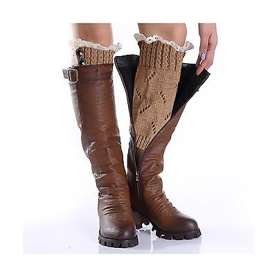 Avidlove Women Button Lace Knit Wool Boots Cuffs Short Socks Leg Warmers ... New