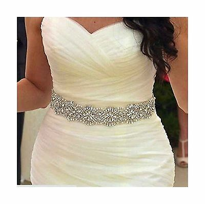 QueenDream Women's Shiny Beaded Bridal Sash Wedding Dress Belts with Crys... New
