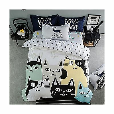 Cliab Cat Print Bedding Twin Black and White Girls Sheets 100% Cotton Duv... New