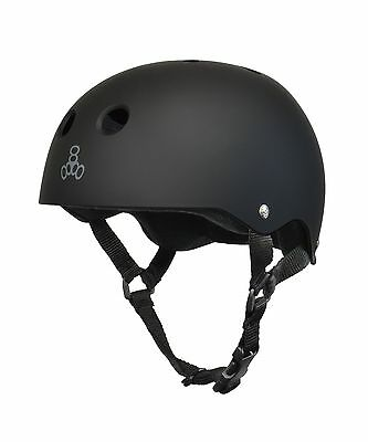 Triple Eight T8 Brainsaver All Black Rubber Helmet-Small New