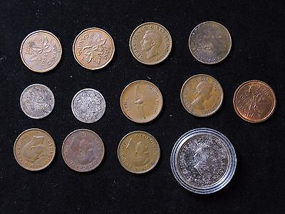 Lot of 13 Canada 1 cent silver 5 cents 25 cents 1910-2000