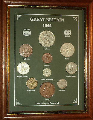 FRAMED 1944 COIN YEAR SET (RETRO 73rd BIRTHDAY PRESENT WEDDING ANNIVERSARY GIFT)