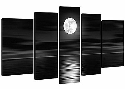 Modern Abstract Wall Art Hand Painted Wood Framed Full Moon Night Black White