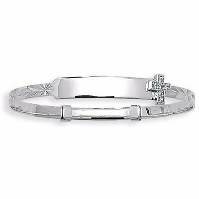 9ct White Gold Engraved Baby ID Bangle Christening Cross Expanding  5.5""