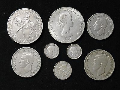 Lot of 8 Great Britain 3, 6 pence 1, 2 Shilling Half Crown Crown 3 are silver