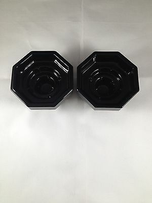 Pair of Arcoroc Black Octagon Candle Holders Made in France