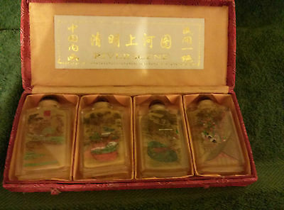 New China River Scene Four Snuff Bottles/box