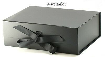 1 LUXURIOUS EXTRA LARGE BLACK GROSGRAIN RIBBON TIE GIFT/KEEPSAKE BOX 33cm UK