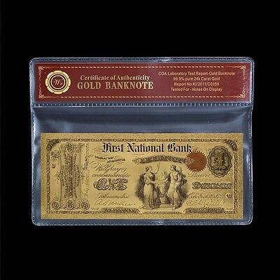 WR 1875 24kt Gold Foil-plated $1 Banknote US Collecting Plastic Note COA Sleeve