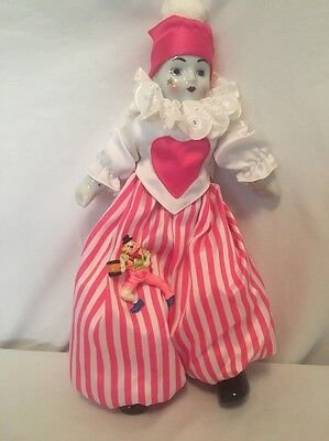 Vintage Fine Quality Porcelain Clown Doll made in Thailand Not SCARY!
