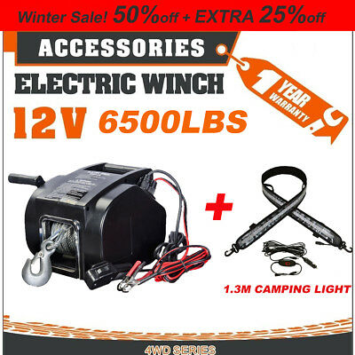 12V 6500lbs Electric Boat Winch Detachable+LED Camping Light caravan 4wd Trailer