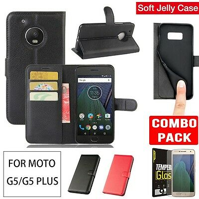Moto G5/G5 Plus Case Cover  Wallet Flip Leather + Tempered Glass Screen Protecor