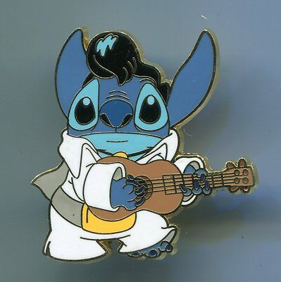 Disney Trading Pin - Stitch Dressed Up As Elvis White Rock Outfit Guitar - 38770