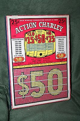 """Vintage 25-Cent """"Action Charley"""" 1000 Hole Punch Board Serial #6246 Unpunched"""
