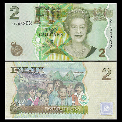 Fiji 2 Dollars, 2012, P-109B, UNC -- QEII Queen Elizabeth II, Kids Playing
