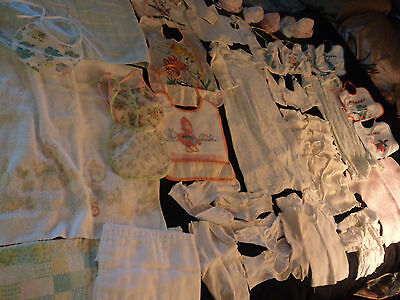 lot 37 vintage baby / doll clothes: bibs, undershirts, blankets, sleep gown