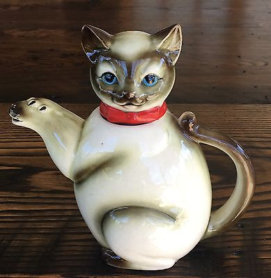 Vintage SIAMESE CAT Ceramic Small Teapot Creamer Pitcher