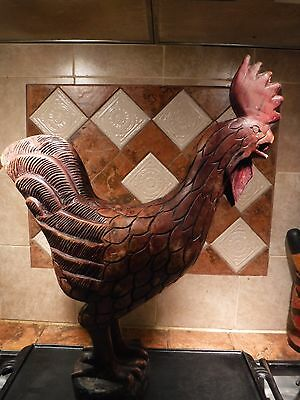 Jamaican Hand Carved Large Wood Rooster Statue 22 inches high by 18 inches wide