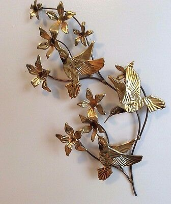 Vintage Gold Colored Metal Wall Art Hummingbirds and Flowers Hanging Plaque EUC