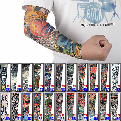 Fashion Men Mix Style Stretch Temporary Fake Slip On Tattoo Sleeve Arm Stockings