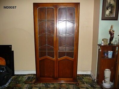 Vintage Leaded Glass Book Case/Display Cabinet