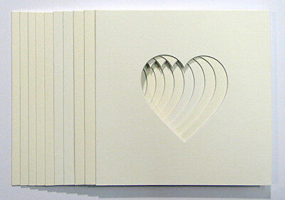 "Pack of 10 Heart Shaped Photo Mounts4""x4"" to Fit  IKEA 23cm x 23cm  frames"