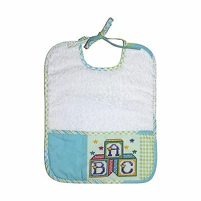 DMC BB3700EA-4603 Cotton Quilt Baby Bib Green/Blue New