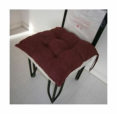 Octorose  Set of Two Quilted Soft Micro Suede Dining Chair Cushion Pads 1... New