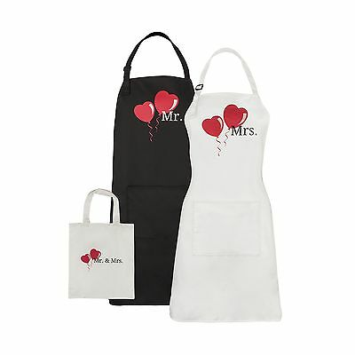 Mr and Mrs Aprons Wedding Anniversary Bridal Shower Gift with Matching He... New