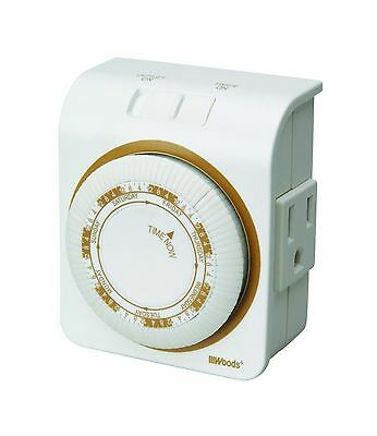 Woods 50002 Indoor 7-Day Heavy Duty Mechanical Outlet Timer New