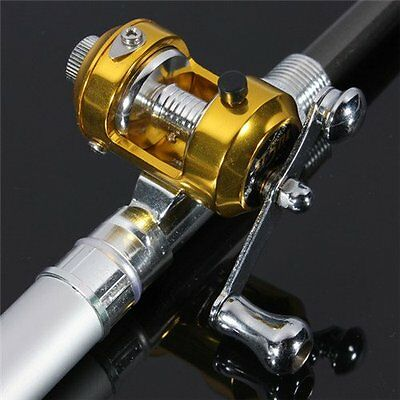 Portable Pocket Pen Shape Mini Aluminum Alloy Fishing Rod Pole+Reel Line Silver