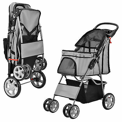 Dog Pets Trolley Stroller Buggy Transport with shipping bag cup holder Roof GREY