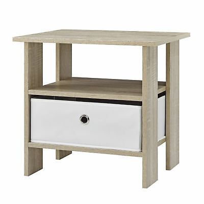 [en.casa] SIDE TABLE BEDSIDE CABINET NIGHTSTAND NIGHT CONSOLE DRESSER OAK WHITE