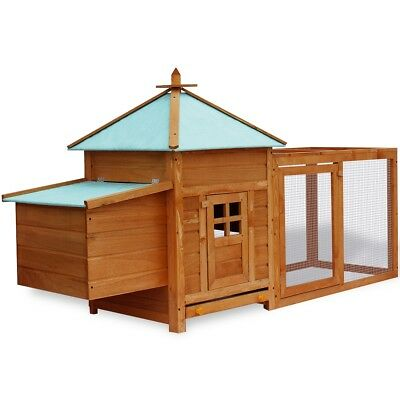 # Large Wooden Chicken Hen Coop Rabbit Hutch Cage Pig Ferret House Roomy Run Mes