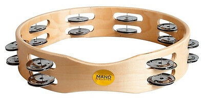 "MANO PERCUSSION 10"". Wood rim tambourine. 16 pairs of double jingles. ED613"
