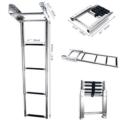 Boat Boarding Ladder 4-Step Stainless Telescoping Under Platform Slide Mount